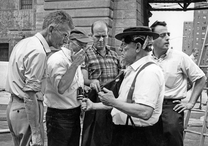 """On the set of """"Film"""" with (left to right) Samuel Beckett, Alan Schneider and Buster Keaton."""