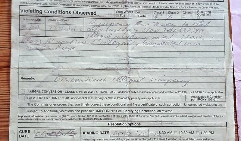 One of the notices of violation issued to Geoffrey Freeman