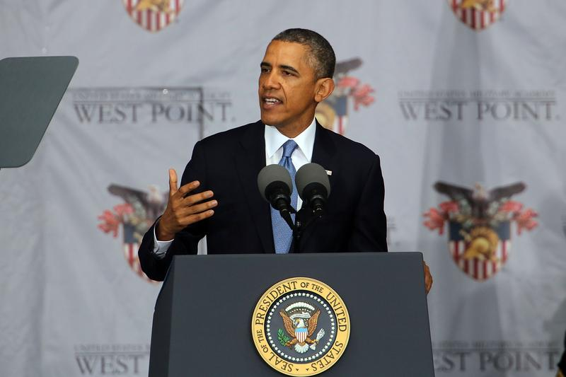 U.S. President Barack Obama gives the commencement address at the graduation ceremony at the U.S. Military Academy at West Point on May 28, 2014 in West Point, New York.