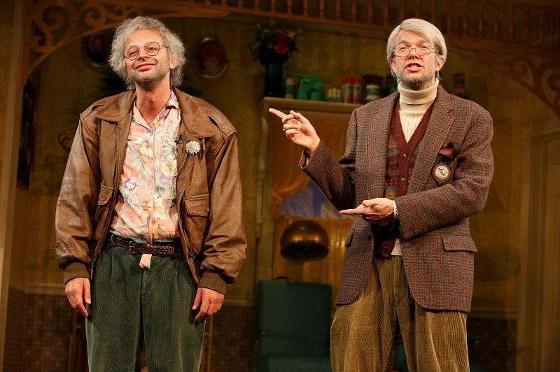 (l-r) Nick Kroll as Gil Faizon and John Mulaney as George St. Geegland in Oh, Hello on Broadway, directed by Alex Timbers at the Lyceum Theatre (149 W. 45th Street).