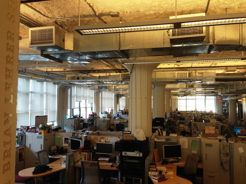 The WNYC 9th Floor's open office space. Sometimes it's hard to find a place for a quiet conversation.