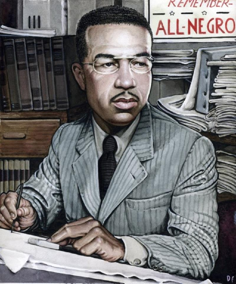 """Drew Friedman's illustration of Orrin C. Evans, a journalist, comic book publisher, and publisher of the """"All-Negro Comics."""""""