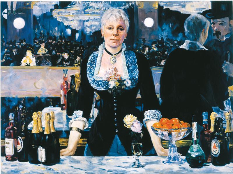 Kathleen Gilje, <em>Linda Nochlin in Manet's Bar at the Folies-Bergere, 2005.</em> Oil on linen, 95.6 x 129.2 cm (37 ⅝ x 50 ⅞ in.)