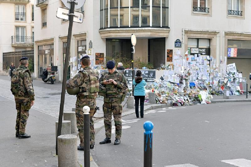 PARIS, FRANCE - Tributes continue near the Charlie Hebdo offices more than a month after the terrorist attacks on February 16, 2015 in Paris, France.