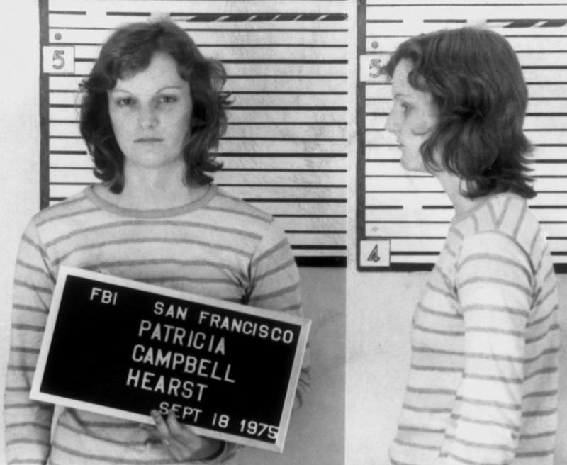 Heiress Patty Hearst poses for an FBI mugshot after her arrest for bank robbery on September 18, 1975 in San Francisco, California.