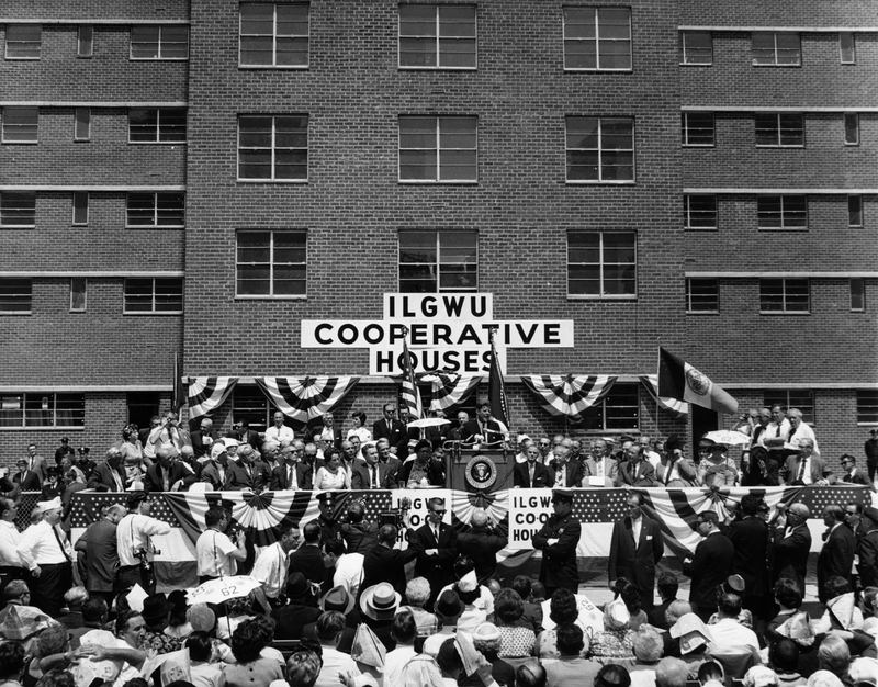 21st May 1962: President John F Kennedy speaking at the opening ceremony of the USA's largest co-operative housing development, located in the Chelsea area of Manhattan.