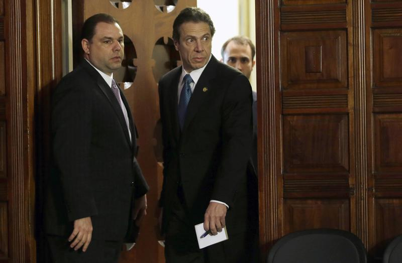 New York Gov. Andrew Cuomo, right, and Joseph Percoco, executive deputy secretary, stand at a news conference in Albany, N.Y in 2013.