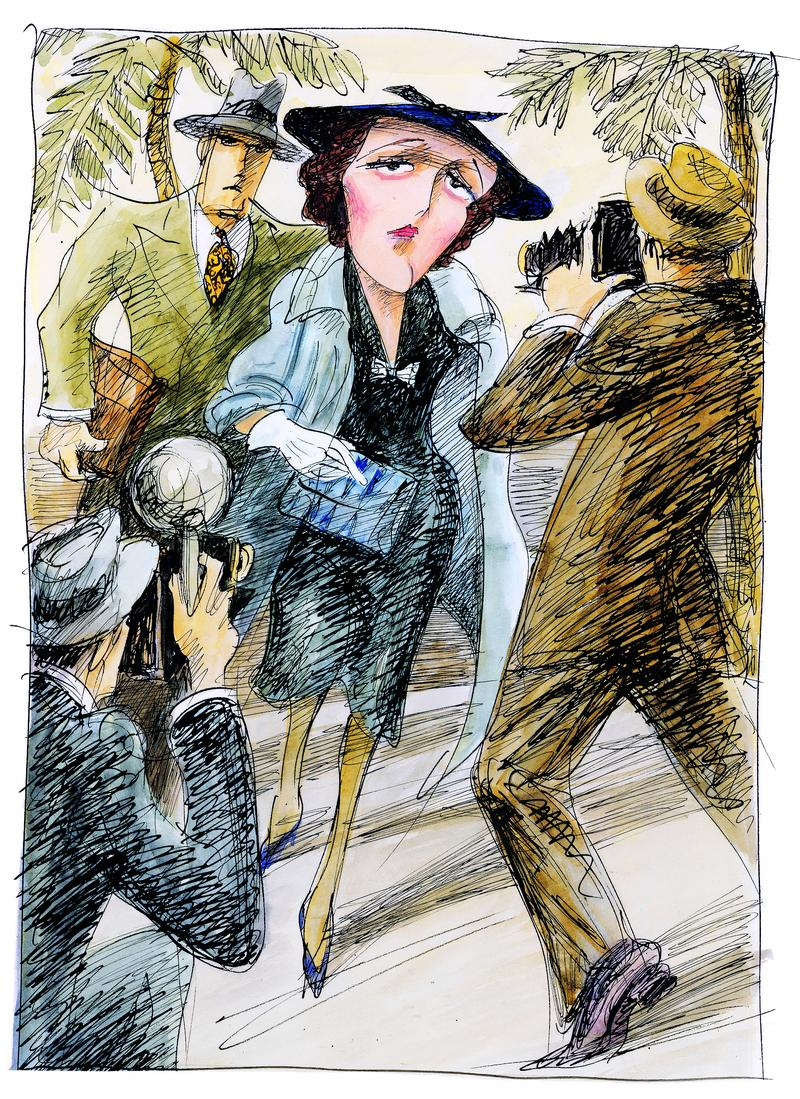 """Mary Astor as drawn by Edward Sorel in """"Mary Astor's Purple Diary: The Great American Sex Scandal of 1936"""""""