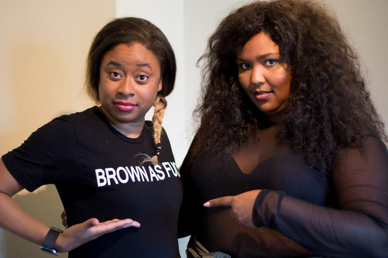 Phoebe Robinson and the rapper Lizzo in the studio recording the Sooo Many White Guys podcast.