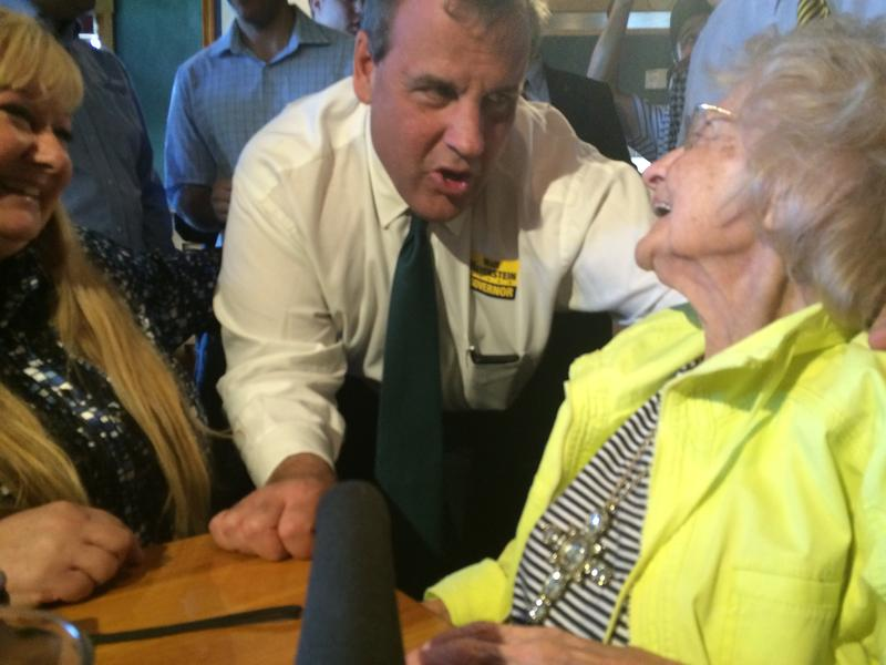 Gov. Christie greets 102-year-old Clemence Blanchard and her daughter, Summer Hebert, at T-Bones restaurant in Bedford, NH.
