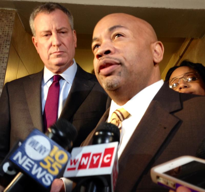 Mayor Bill de Blasio and Assembly Speaker Carl Heastie
