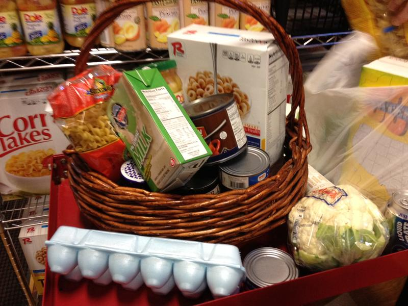 A basket representing the $36 a month cut food stamp recepients received beginning in early November.