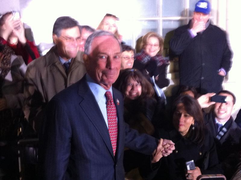 Michael Bloomberg Exits City Hall on his last day as mayor.