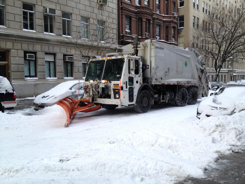 Snowplow on an Upper West Side street
