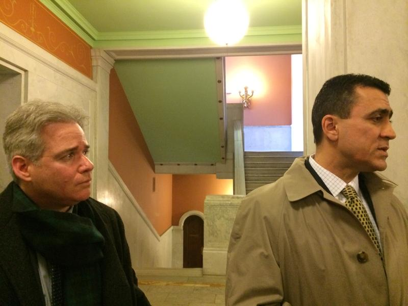 Bennett Barlyn and his attorney, Robert E. Lytle, outside appellate court in Jersey City on Tuesday.