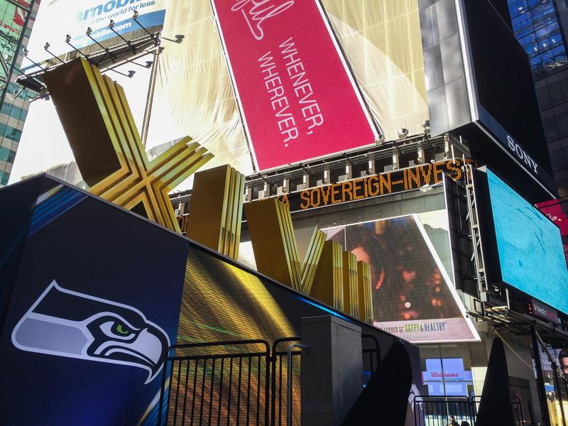 """Super Bowl Boulevard"" in Midtown Manhattan, a four-day lead up to Sunday's game."