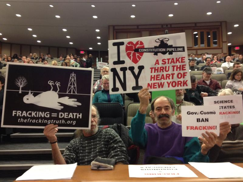 Protesters from Frack Action at a budget hearing in Albany in Feb. 2014