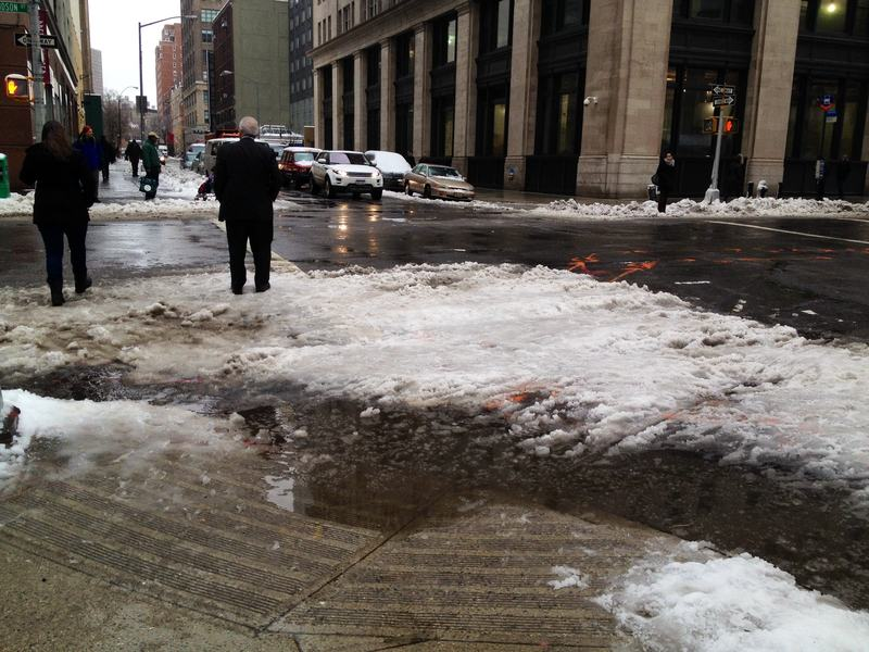 Giant slush puddle on Hudson Street