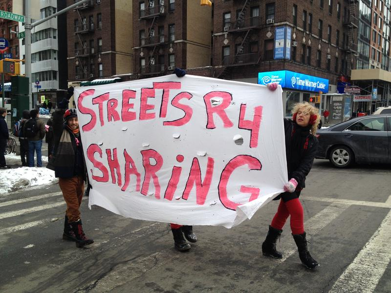 Safe streets activists at the intersection of Broadway and 96th street