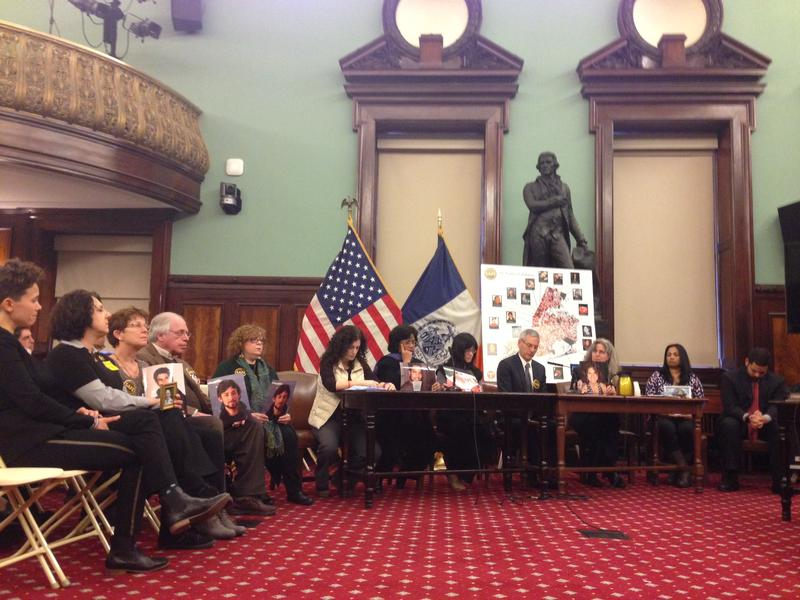 Relatives of pedestrians and cyclists killed by cars, at City Council Vision Zero hearing