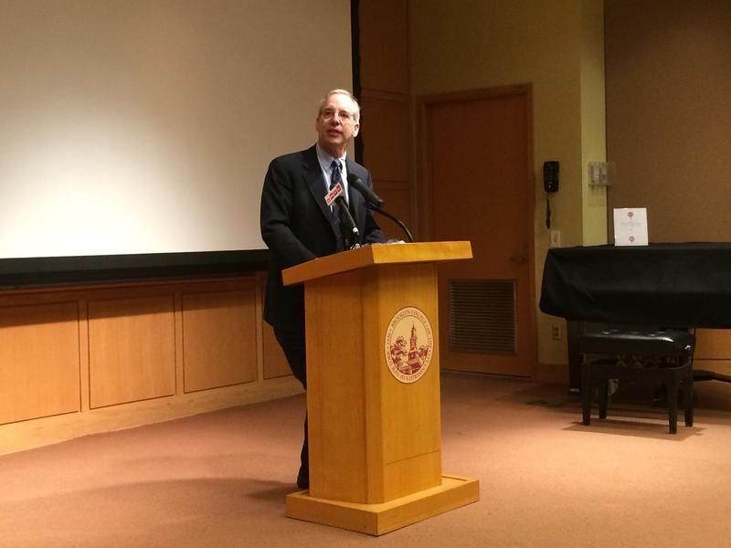 William Dudley, head of the New York Federal Reserve, gives a  speech at Brooklyn College.