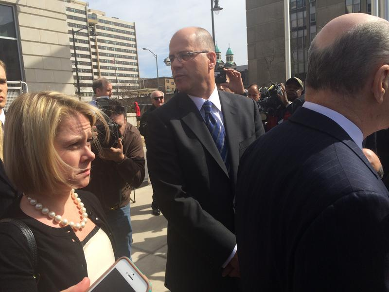 Bridget Ann Kelly outside Mercer County Courthouse on March 11 alongside Kevin Marino, Bill Stepien's attorney, as her lawyer, Michael Critchley, speaks to reporters.