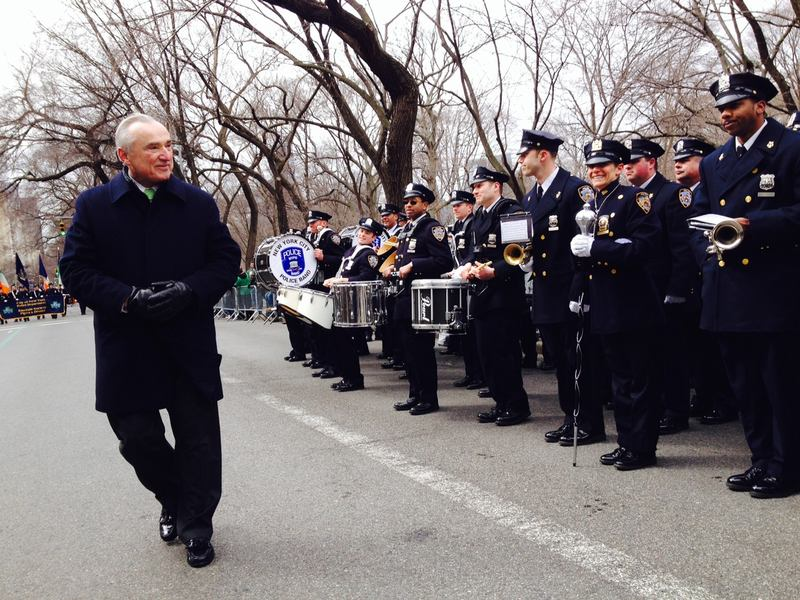 Commissioner Bratton walking near on the NYPD bands on 5th Avenue.