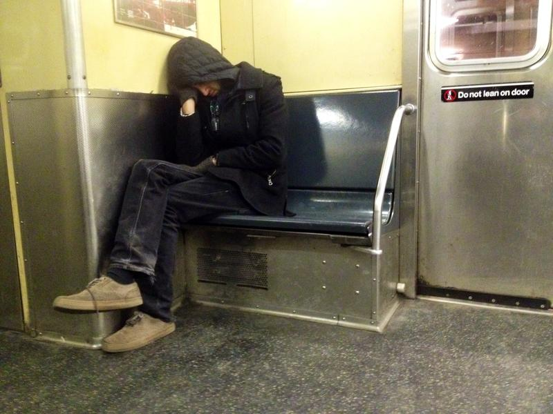 Sleeping on the subway