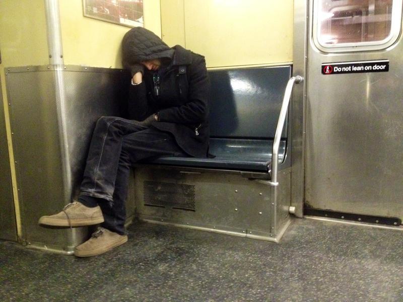 Sleeping on the subway