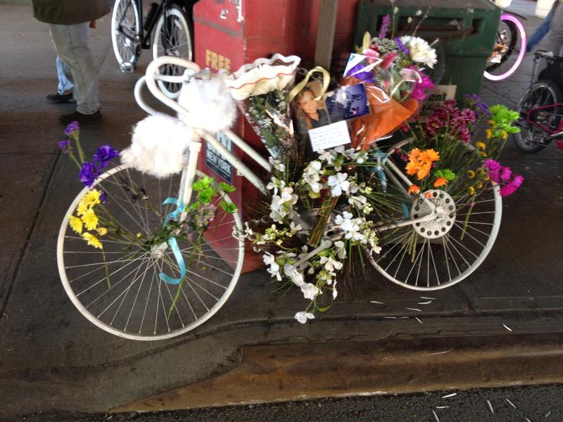 "A ""ghost bike"" marks the spot in East Harlem where Laura Rothfuss died."