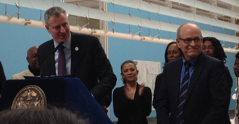 Mayor de Blasio introducing Tom Finkelpearl, his new cultural commissioner.