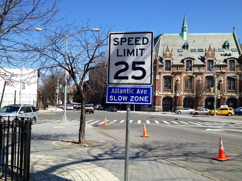 A sample of the new speed limits signs being installed on Atlantic Avenue