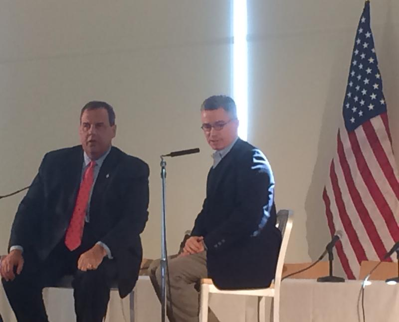 New Jersey Gov. Chris Christie and former New Jersey Gov. Jim McGreevey at a conference on prisoner reentry in Jersey City.