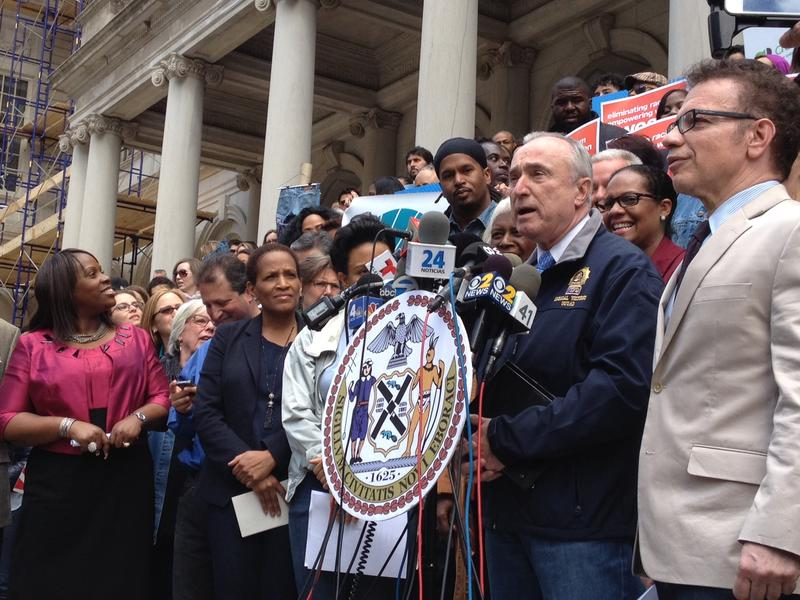NYPD Commissioner Bill Bratton joins Council members and advocates outside City Hall