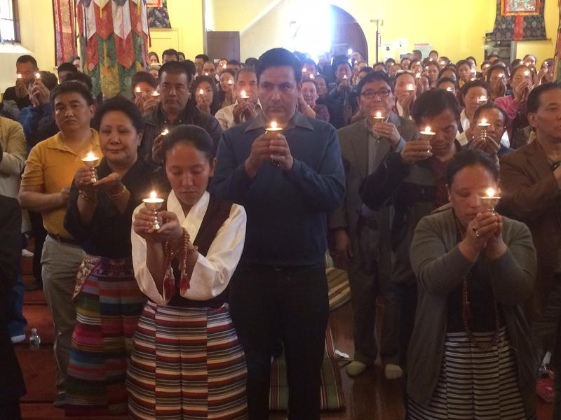 Sherpas praying for the victims of the April 18 avalanche on Mt Everest