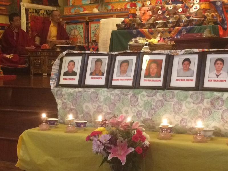 Pictures of Sherpa victims of Mt. Everest avalanche at a prayer service in Elmhurst, Queens