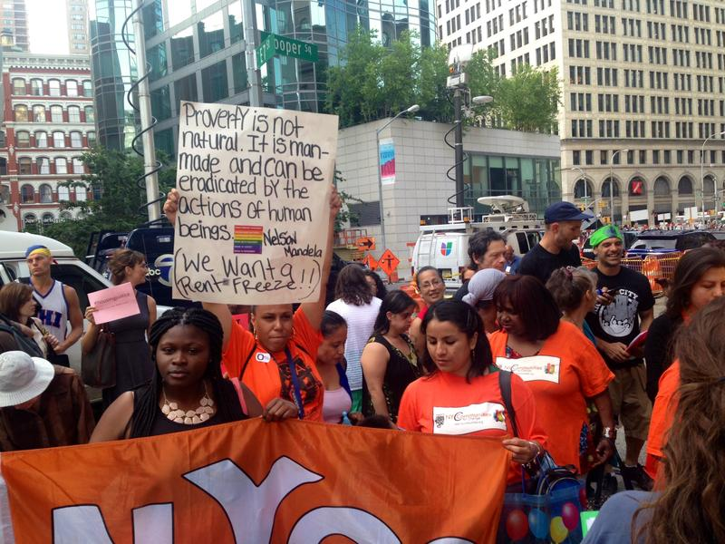 Tenants rallying for a freeze on rent increases before the RGB vote on June 23, 2014.
