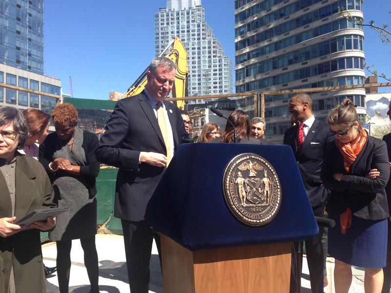 Bill do Blasio unveils his affordable housing plan in Fort Greene. Janet Babin/WNYC