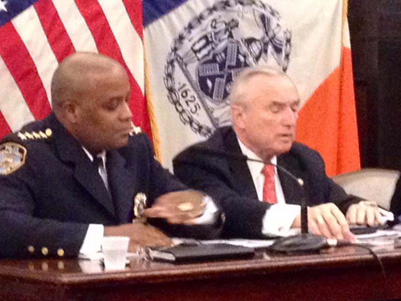 NYPD's Chief of Department Philip Banks III and Police Commissioner Bill Bratton, testifying at City Hall.