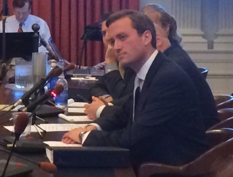 Matt Mowers, former aide to New Jersey Gov. Chris Christie, testifies before a Bridgegate hearing in Trenton.
