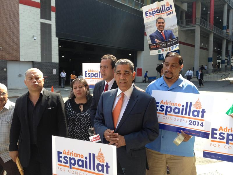 NY-13 candidate State Sen. Adriano Espaillat with supporters in  East Harlem