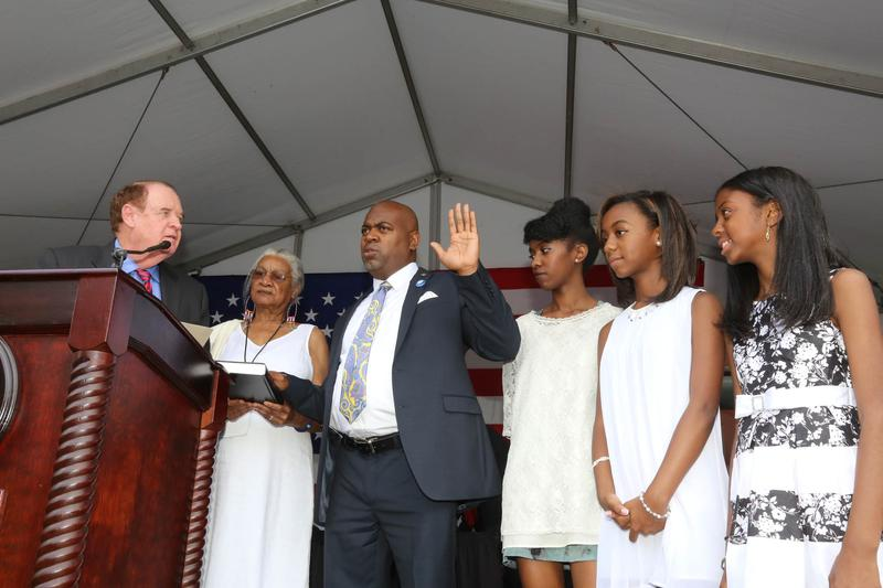Newark mayor Ras Baraka delivering his inauguration speech July 1, 2014