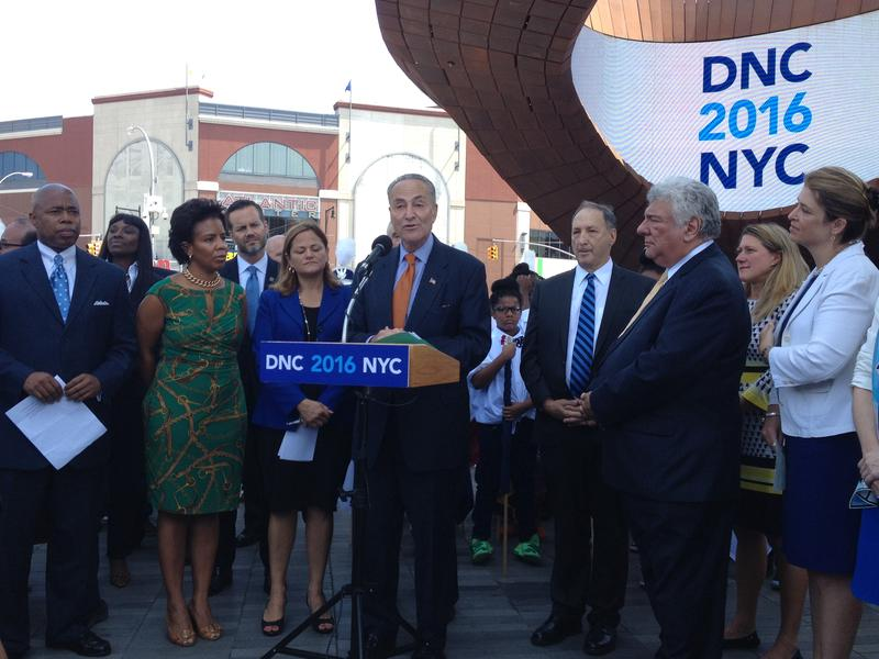US Sen. Schumer leads a presser outside the Barclays Center with  other city officials.