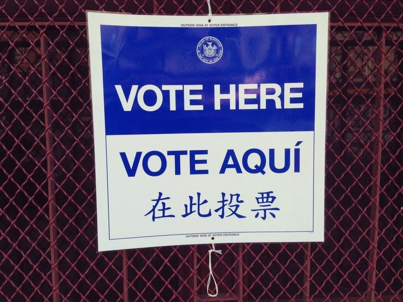 Vote here / vote aqui sign nyc election
