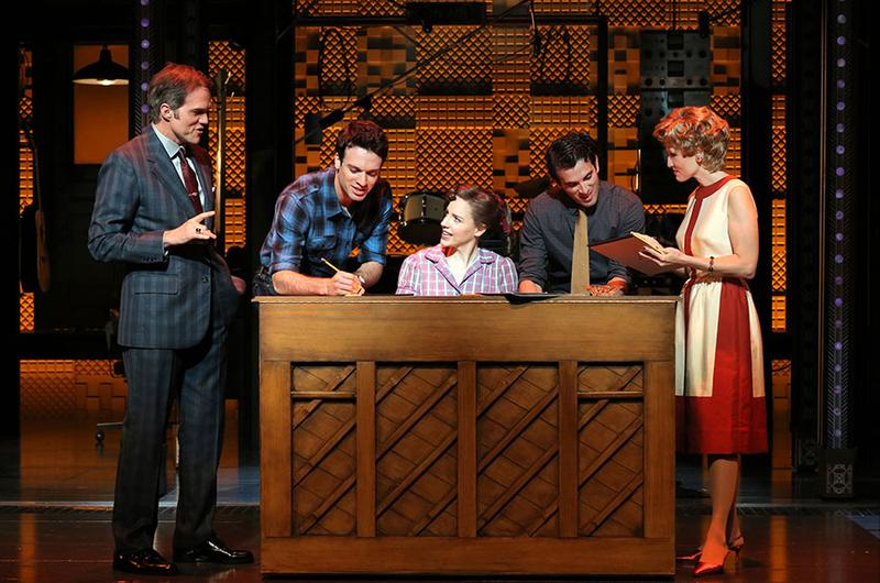 "Jeb Brown as Don Kirshner, Jake Epstein as Gerry Goffin, Jessie Mueller as Carole King, Jarrod Spector as Barry Mann and Anika Larsen as Cynthia Weill in ""Beautiful: The Carole King Musical"""