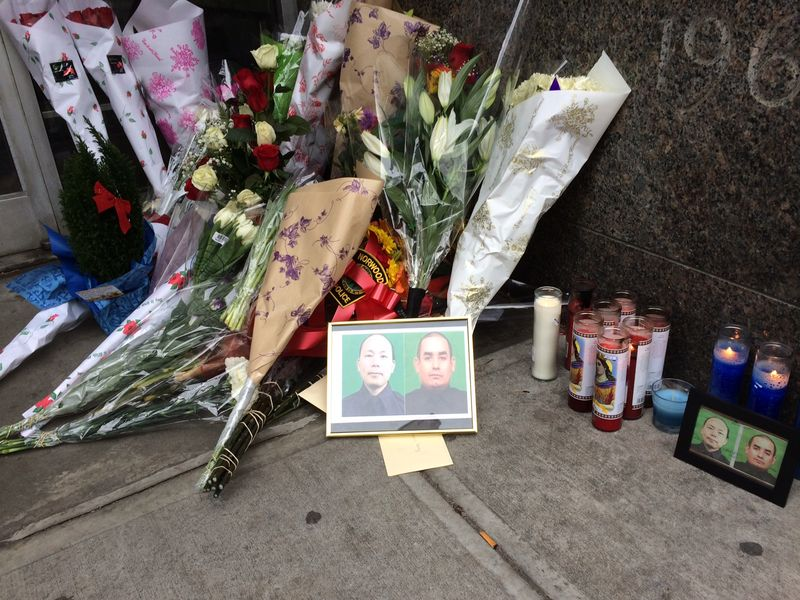 Memorial to slain officers at the 84th Precinct in Brooklyn