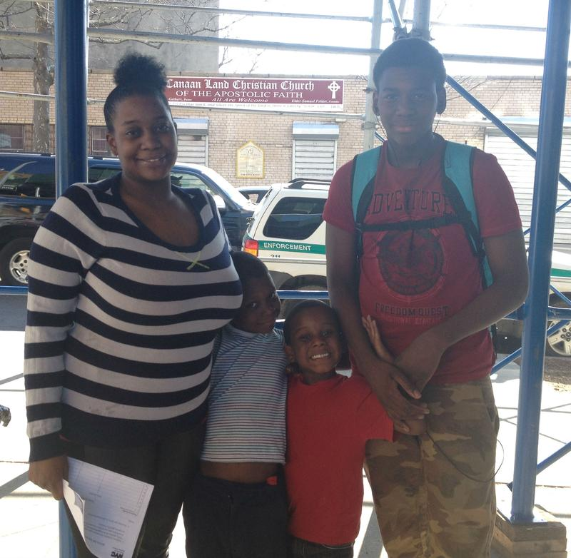 Crystal Merritt, who was in the Advantage program from 2010 to 2011, with her three sons. They currently live in a shelter on Catherine Street in Lower Manhattan.