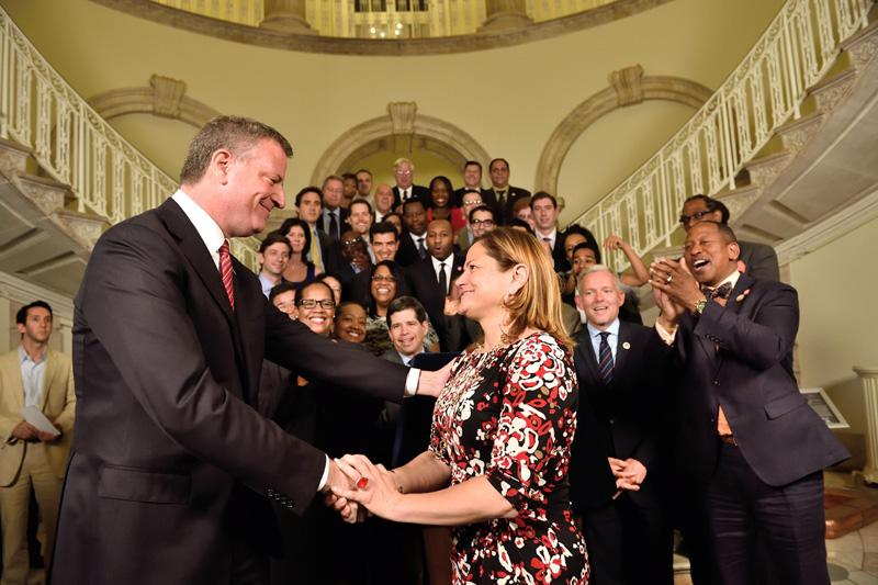 Mayor de Blasio and Council Speaker Melissa Mark-Viverito announcing the city budget on June 19th, 2014