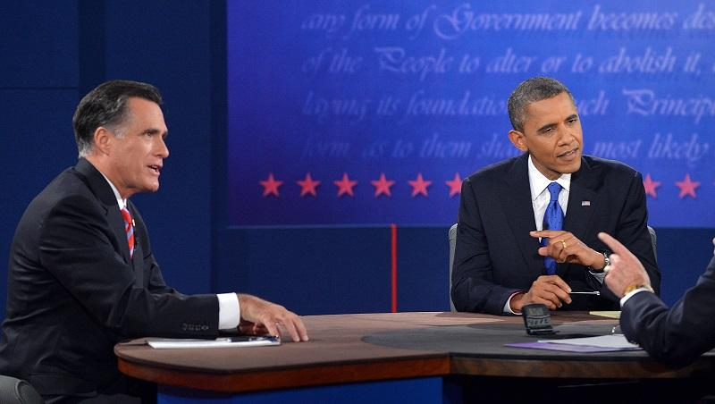 US President Barack Obama (2nd-R) and Republican presidential candidate Mitt Romney participate in the third and final presidential debate at Lynn University in Boca Raton, Florida, on Oct. 22, 2012.