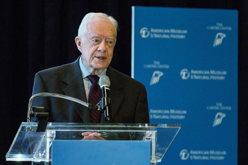 Former U.S. President Jimmy Carter speaks at a press conference to open a new exhibit at the American Museum of Natural History on January 12, 2015 in New York City.